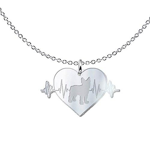 Boston Terrier Heartbeat Freeform Pendant Necklace - Dog Best Friend Gift .925 Solid Sterling (Freeform Heart Necklace)