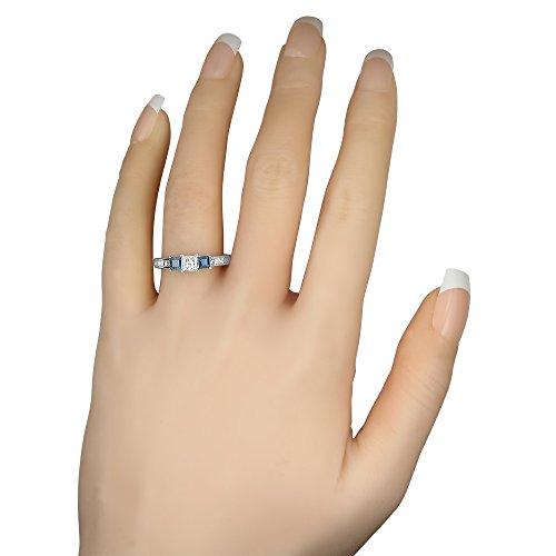 14k White Gold Princess cut Three Stone Diamond & Blue Sapphire Engagement Ring (1 1/7 cttw, I J, I1 I2)