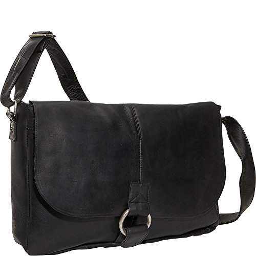 David King Leather East/West 1/2 Flap Messenger Bag in Black (Small David King Flap)
