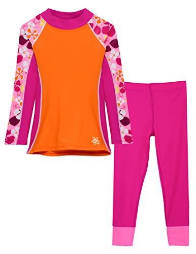 Tuga Girls Shoreline L/S Buff Orange & Swim Legging Fuchsia (UPF 50+), 8/10 yrs ()