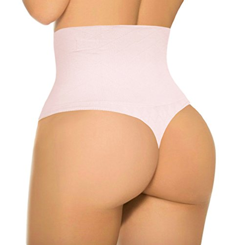 ShaperQueen 103 Women Every-Day Smooth Lower Ab Control Thong Panty (XXL, Light Pink)