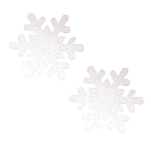 Neva Nude Snowsprite White Glitter Snowflake Nipztix Pasties Nipple Covers