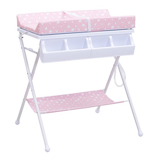 Costzon Baby Changing Table, Diaper Station Nursery Organizer, Infant Bath Table with Tube Cushion (Pink) (Baby Stand Bath)
