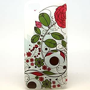 Mini - Red Flowers And Green Leaves Pattern Soft Case for iPhone 5C