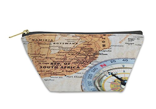 Gear New Accessory Zipper Pouch, Travel Destination South Africa Ancient Map With Vintage Compass, Large, 5912821GN by Gear New