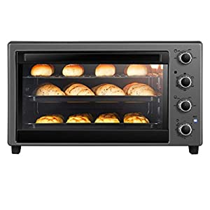 SCKMBJ European Baking Multi-Function Automatic Convection Table Oven Oven, Including Grilled net, Fork, Baking Tray, Tray, Rack Remover, 60 Liter 2200W Large Oven