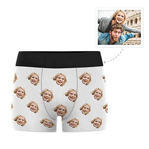 Custom Men's Funny Face White Boxer Shorts Briefs Underpants Printed with Photo - Boxers Face White