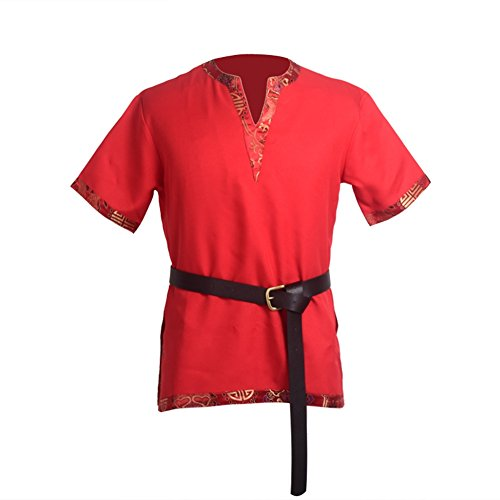 Blessume Medieval Viking Tunic Red LARP Aristocrat Chevalier Cosplay Costume