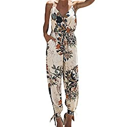 Cami Jumpsuits For Women Vermers Women S Printing Casual Sleeveless V Neck Strap Camisole Long Playsuits Xl Beige