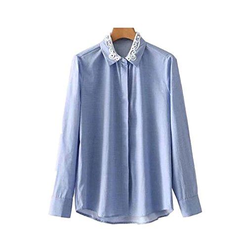Shining4U Women Pearls Beading Long Sleeve Turn Down Collar Loose Blouse Solid Female Casual,Medium,Aspicture ()
