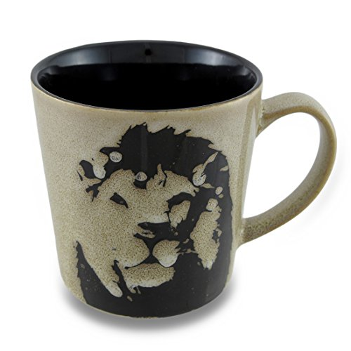 - Large Ceramic 17 Oz. Mug with Stencil Style Safari Lion Design
