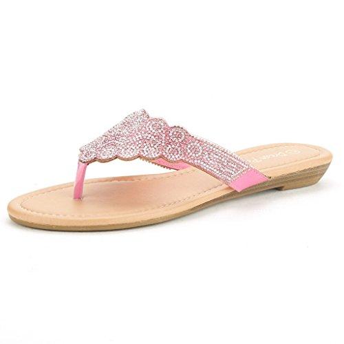 DREAM PAIRS DIAMONTE Women's Rhinestones Design Thong Strap Summer Fashion (Pink Womens Sandals)