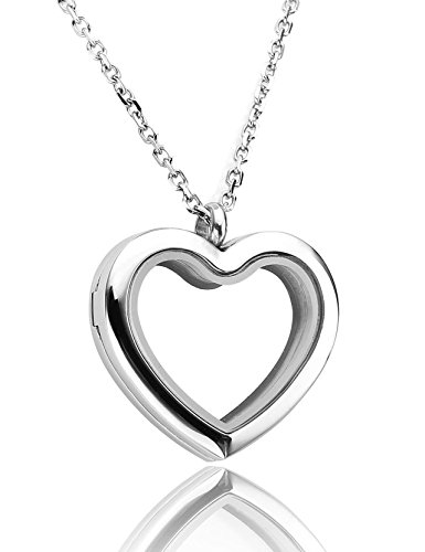 JOVIVI Floating Charm Memory Locket Heart Glass Pendant Necklace - 316 Stainless Steel Magnetic - Magnetic Link Steel Stainless Necklace