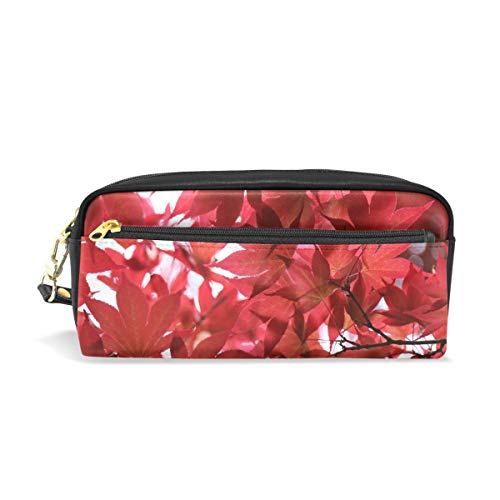 Pencil Case Stylish Print Leaves Summer Plant Nature Tree Branches Sun Art Pattern Large Capacity Pen Bag Makeup Pouch Durable Students Stationery Two Pockets with Double Zipper