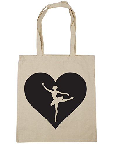 x38cm Tote Heart Bag Beach 10 litres Shopping Gym Ballet Natural 42cm HippoWarehouse 8wnqEdRE
