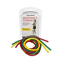 TheraBand Professional Latex Resistance Tubing For Upper Body, Lower Body, and Core Exercise, Physical Therapy, Lower Pilates, At-Home Workouts, and Rehab, 5 Foot, Yellow & Red & Green, Beginner Set