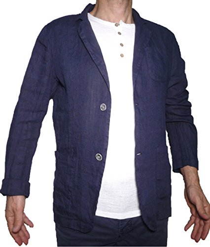 Aderente Ragazzo Puro Leggera Slim Uomo Casual Fit Lino Blu Blazer Giacca tpqOHO