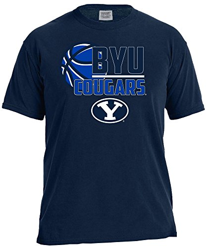 NCAA Byu Cougars Basketball Logo Short Sleeve Comfort Color Tee, X-Large,TrueNavy