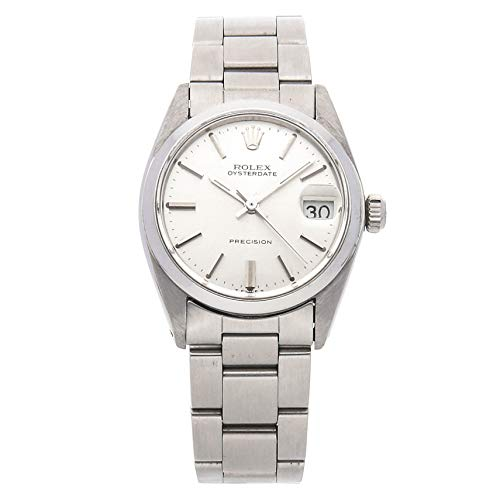 Rolex Oyster Date Precision Mechanical (Hand-Winding) Silver Dial Womens Watch 6466 (Certified Pre-Owned)