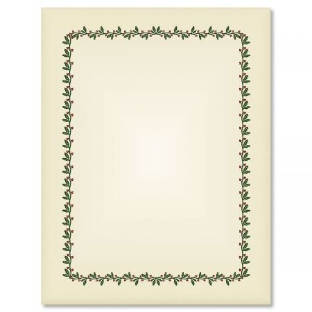 Ecru Holly & Berry Frame Christmas Letter Papers - Set of 25 Christmas Stationery Papers are 8 1/2