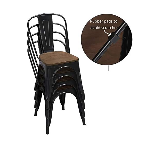 Yaheetech 18 Inch Classic Iron Metal Dinning Chair with Wood Top/Seat Indoor-Outdoor Use Chic Dining Bistro Cafe Side Barstool Bar Chair Coffee Chair Set of 4 Black - 🐬Solid & durable: The seat of the side chair is made of wood and the other parts are made of iron. Offer you a comfortable seat and solid support. It is solid enough for your daily needs. The load-bearing capacity is 150kg/330lb. 🐬Stackable design with scratch-proof pads: You can stack these armless chairs on top of the other to save space for unused time. Rubber feet under the chair legs keep floors from sliding and scratching. Also, the rubber pads can reduce noise when you move the chairs. 🐬X-shape brace: The wooden surface is tightly screwed to the chair and the seat of the dinning chair is enforced by an X-shape brace below to provide more stability and load bearing. - kitchen-dining-room-furniture, kitchen-dining-room, kitchen-dining-room-chairs - 41sjyXVSz2L. SS570  -