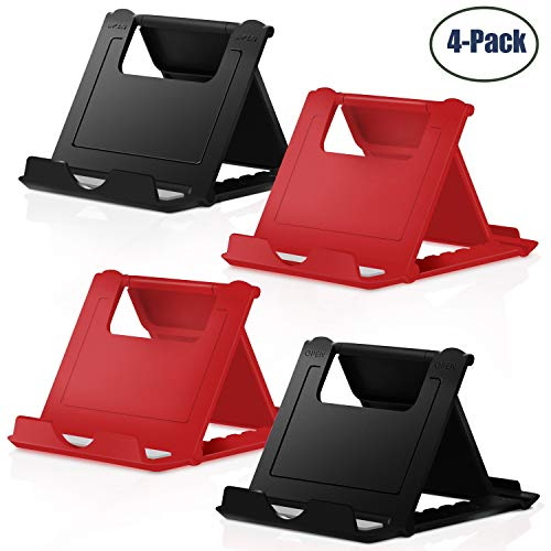 Cell Phone Stand, ?4 Pack? Tablet Stand,Universal Foldable Multi-Angle Pocket Desktop Holder Cradle for Tablets(6-11), Compatible iPhone X/8/7 Plus/7/6s/6/5/4 SE iPad Mini, Galaxy, Black+Red