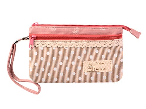 KISS GOLD (TM) Mini Handytasche Geldbeutel mit Polka Dots für Damen und Mädchen Beige