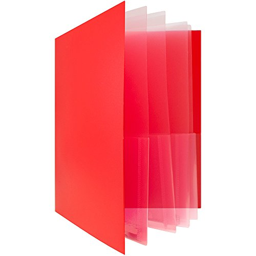 JAM Paper Heavy Duty Plastic Multi Pocket Folders - 10 Pocket - Red - Sold Individually