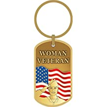 Woman Veteran USA Flag Key Ring United States Military Key Chains Patriotic Gifts