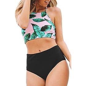 - 41sjzDCGkkL - CUPSHE Women's Leaves Printing High Waisted Bikini Set Tankini Swimwear