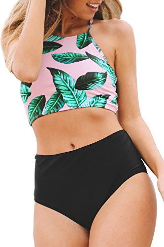 Cupshe-Fashion-Womens-Leaves-Printing-Bikini-Set-Beach-Bathing-Suit