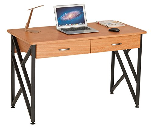 ProHT Compact Office Computer Desk, Small Desk with Two Drawers: Writing/Study/PC/Laptop Table, Computer Workstation Laptop Desk, CARB Certified (Oak 05014A)