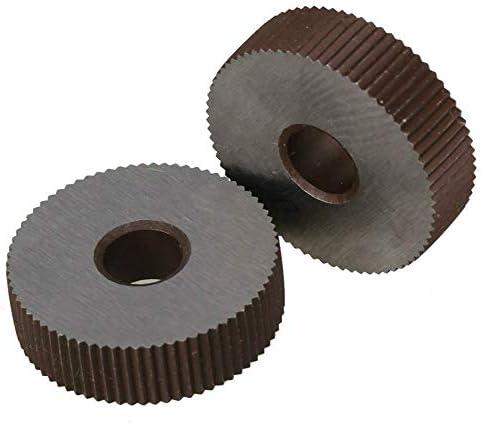 NO LOGO Rändelwerkzeug Set Stahl 0,3 mm Pitch Linear Rändelrad 28 OD Einzel Gerade grobes Muster Rändelwerkzeug 2er Pack Alloy Hebt
