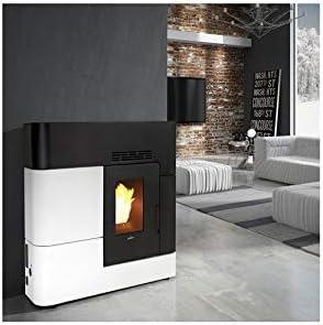 Estufa de pellet canalizable Slim 13 kW AREGUA negro y blanco