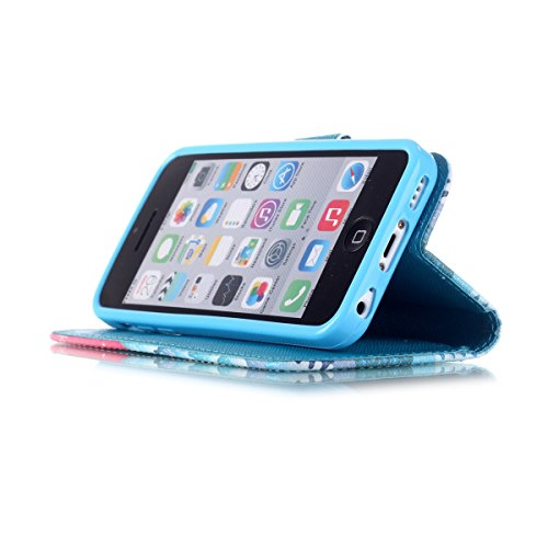 iPhone 5C Coque , Apple iPhone 5C Coque Lifetrut® [ arbre de Noël ] [Stand Feature] Colorful Case Mignon PU cuir portefeuille en cuir intégré dans la carte Slots Flip Cover avec dragonne Coque Etui po
