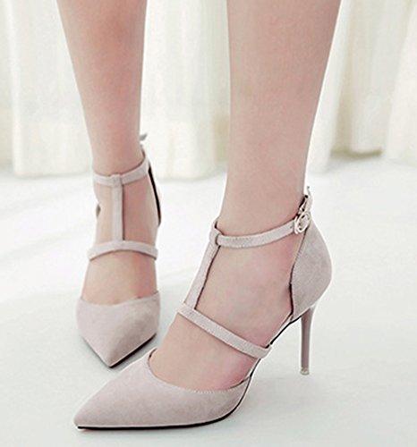 IDIFU Womens Dressy Faux Suede Ankle Strap Pumps High Stiletto Heels Light Gray b7zhE