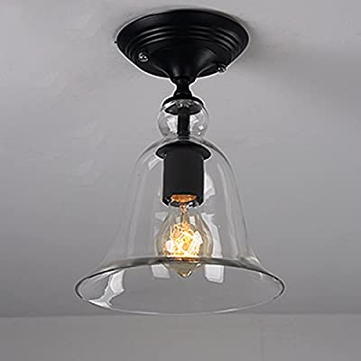 WinSoon Industrial Vintage Ceiling Light 1 Light Style Metal with Glass Shade Art Painted Finish Big Bell Shape