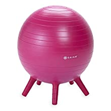 Gaiam Kids Stay-N-Play Children's Balance Ball - Flexible School Chair, Active Classroom Desk Seating with Stay-Put Stability Legs, Includes Air Pump, Pink, 45cm