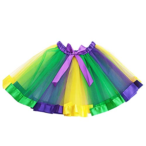 Mardi Gras Tutu (Dreamdanceworks Mardi Gras Tutu for Adult Women Plus Size Costume Outfits (Purple Yellow)