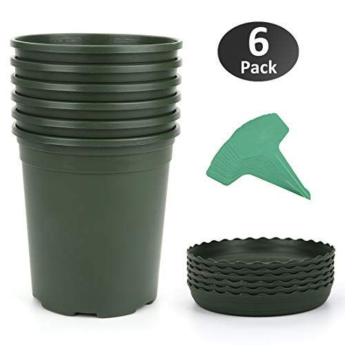 GROWNEER 6-Pack 1 Gallon Nursery Pot Garden Flower Pots, Green Nursery Plant Container Kit w/ 6 Pcs Matching Pallets & 15 Pcs Plant Labels ()