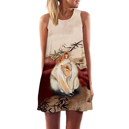 Sin WanYang Verano Moda Mujer Transparente Cuello del Mono Impreso Algo Vendimia Mangas Redondo Blanco Tirantes 023 Vestido Mini Dress Guay Beachwear Sin fOprfW