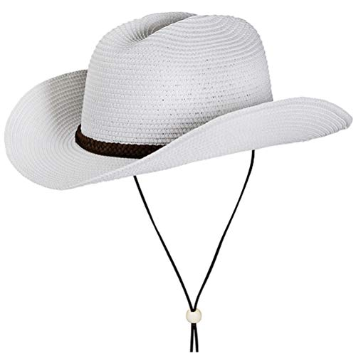 Straw Cowboy Hat,Summer Beach Sun Hats Men & Women Western Fedora with Adjustable Chin Strap (L(7 1/4-7 3/8), A3-White) ()