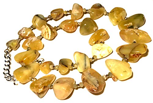 Peruvian yellow opal necklace; Large stones; Yellow white amber honey 20 inch long beaded statement necklace with 2 inch extension; Summer Earthy necklace; Handmade in WA;