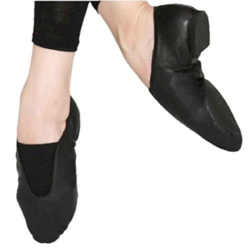 [Mens Jazz Ballet Gym Shoes Genuine Leather Split Sole Black 43#] (Mens Jazz Shoes)