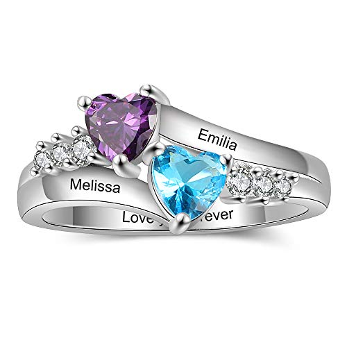 Tian Zhi Jiao Personalized Mothers Rings with 2 Heart Simulated Birthstones 2 Names Custom Engraved Promise Love Rings for Women (6)