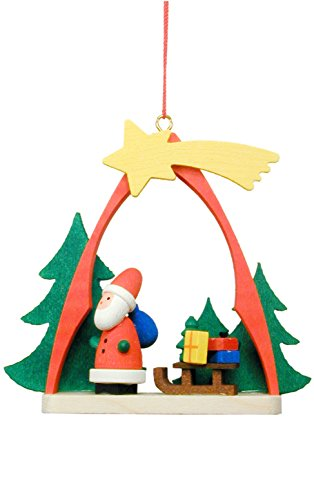 "10-0862 - Christian Ulbricht Ornament - Santa with Sled in Arch - 2.75""""H x 2.25""""W x 1""""D"