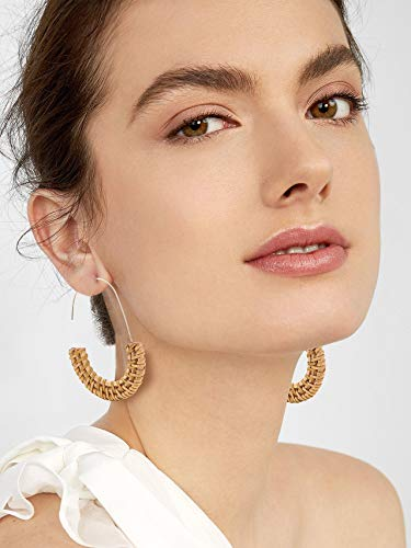 MOLOCH Acrylic Earrings Statement Tortoise Hoop Earrings Resin Wire Drop Dangle Earrings Fashion Jewelry for Women (Rattan Hoop)