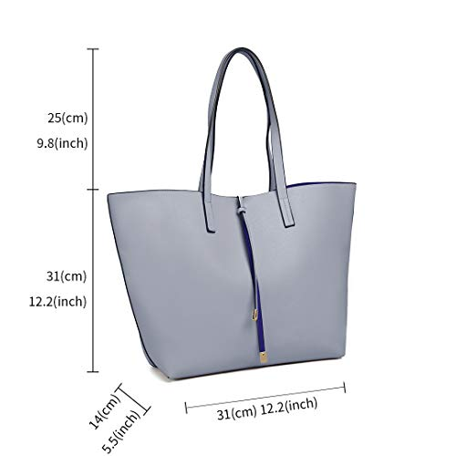 Liner Hobo with Handbag Women Bags Grey Shoulder Leather Bag Bag Pouch Reversible Tote Miss Faux Lulu 7cCqwWBnxf