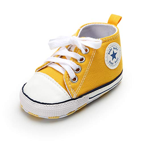 (RVROVIC Baby Boys Girls Shoes Canvas Toddler Sneakers Anti-Slip Infant First Walkers 0-18 Months (0-6 Months M US Infant, 1-High Top)