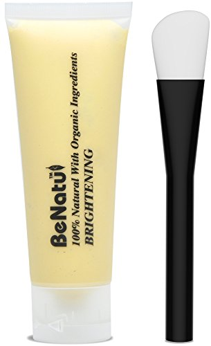 Benatu Yellow Clay Mask - 100% Natural & Organic Dead Sea Mud + Silicone Brush for Face [BRIGHTENING] 75g